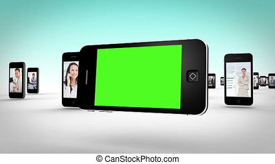 smartphone, éboulis, business, vidéos