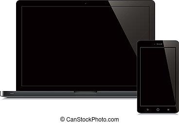 smartphone, écran, arrière-plan noir, blanc, ordinateur portable