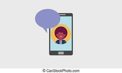 smartphone, écran, conversation, américain, afro, homme