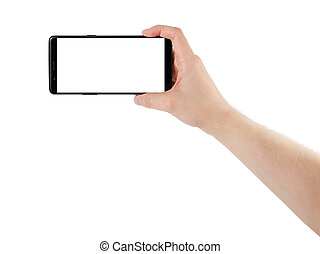 smartphone, écran, isolé, possession main, blanc, homme