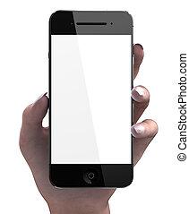smartphone, écran, main, femme, vide, coutume