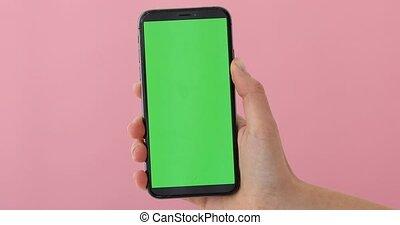 smartphone, écran, main, tient, greeen