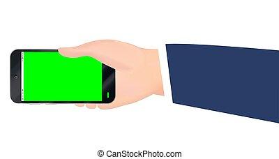 smartphone, écran, main, vecteur, vert, tenue