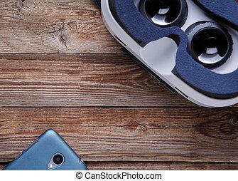 smartphone, écran, moderne, réalité virtuelle, lunettes protectrices, vide