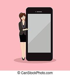 smartphone, écran, pointage femme, business