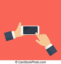 smartphone, écran, possession main, vide, blanc