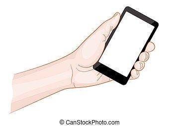 smartphone, écran, possession main, vide, homme