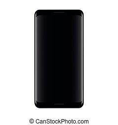 smartphone, écran, réaliste, arrière-plan noir, blanc