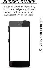 smartphone, écran, réaliste, fond, vide, blanc