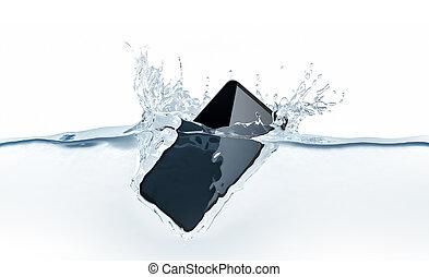 smartphone, új, fekete, víz, mockup, bukás