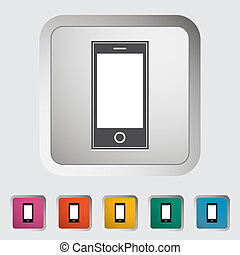 smartphone, único, icon.