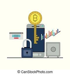 smartphone, ακίνδυνος , bitcoin, closeup , κλειδί , login