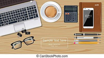 smartphone, γραφείο , καφέs , laptop , ρεαλιστικός , πένα , μικροβιοφορέας , γραφείο