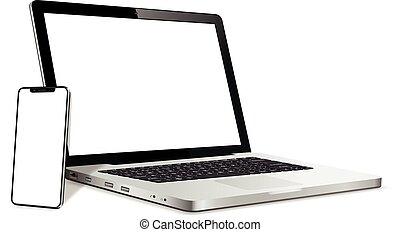 smartphone, κενό , laptop , οθόνη