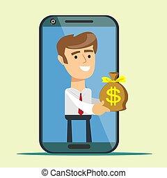 smartphone, お金を与えること, スクリーン, 若い, 袋, 人