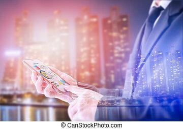 smartphone., さらされること, 概念, 地位, 仕事, ダブル, 都市, 感触, smartphone, スクリーン, を経て, ビジネスマン
