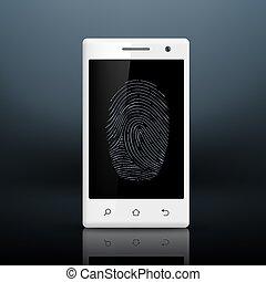 smartphone, ∥で∥, 指紋, 上に, ∥, スクリーン
