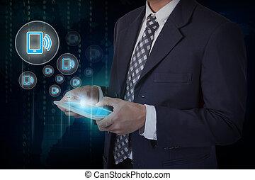 smartphone, アイコン, タブレット, スクリーン, 手, インターネット, 感触, ビジネスマン, 技術, 概念