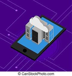 smartphone, アイコン, 計算, サーバー, 雲, 3d