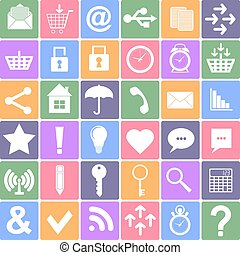 smartphone, アイコン, set., apps, si, 基本