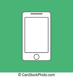 smartphone, アウトライン, ベクトル, icon., イミテーション, ドロー, ∥で∥, 白, チョーク, 上に, 緑, chalkboard., 平ら, pictogram, そして, 学校, 板, バックグラウンド。, イラスト, シンボル