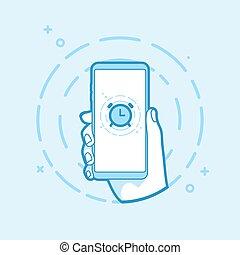 smartphone, アウトライン, 時計, 警報, イラスト, 手, ベクトル, object., 保有物, icon.