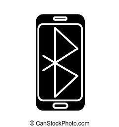 smartphone, イラスト, コミュニケーション, 隔離された, 印, ベクトル, 黒い背景, アイコン