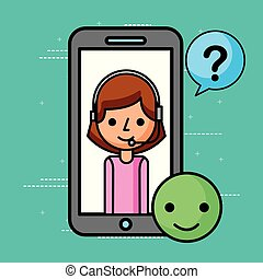 smartphone, エージェント, よい, 質問, 印, カスタマーサービス