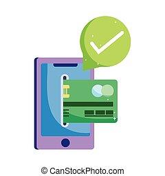 smartphone, クレジットカード, 支払い, コイン, オンラインで, 銀行小切手, 市場, ecommerce, モビール, app, 買い物, 印