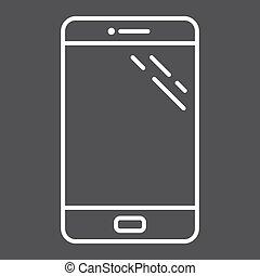 smartphone, スクリーン, 電話, 感触, アイコン, 線