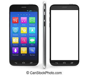 smartphone, セット, スクリーン, 隔離された, イラスト, 背景, 黒, ブランク, 白, 3d