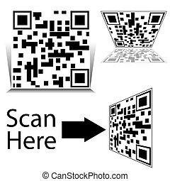 smartphone, セット, barcode