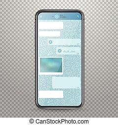 smartphone, タブレット, mockup, 現代, 適用, ベクトル, メッセンジャー, テンプレート
