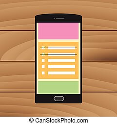 smartphone, チェックリスト, メモ, グラフィック, 付せん, ベクトル, メモ