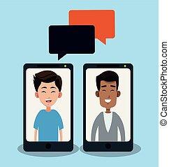smartphone, チャット, 人々