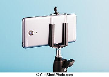 smartphone, バックグラウンド。, 青, 増した, カメラ, レコード, 三脚, photo-video, ビデオ, blog, photos.