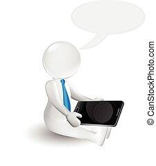 smartphone, ビジネス 人々, 話し, 白, 人, 3d
