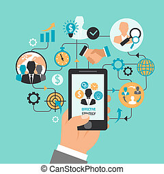 smartphone, ビジネス, 手