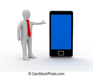 smartphone, プレゼンテーション, 3d, 人