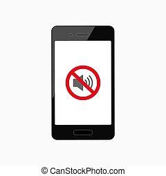 smartphone., ベクトル, スピーカー, 現実的, 離れて, アイコン, いいえ, 無声, モード, 音, icon.