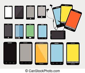 smartphone, ベクトル, 現代, コレクション