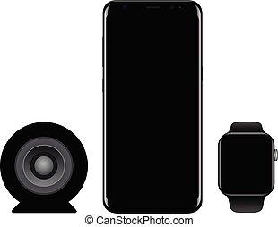 smartphone, モビール, ブランド, smartwatch, 電話, 黒, スピーカー