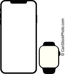 smartphone, モビール, ブランド, smartwatch, 電話, 黒
