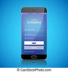 smartphone, モビール, app, 記録, 印, ベクトル, ui, template., デザイン, ...