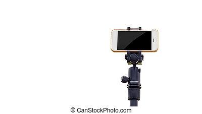 smartphone, 上に, 三脚, 隔離しなさい, 白い背景