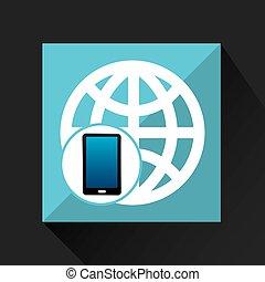 smartphone, 世界的である, 社会, ネットワーク, 媒体, アイコン