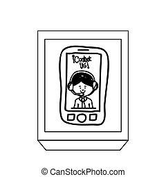 smartphone, 侧面影象, 按钮, 技术, 操作员, 长方形, 人