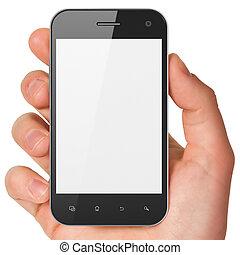 smartphone, 保有物, 一般的, render., 手, バックグラウンド。, 移動式 電話, 白, ...