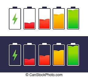 smartphone., 充満, レベル, 電池, 解放された, セット, indicators., 十分に, illustration., ベクトル, 満たされる