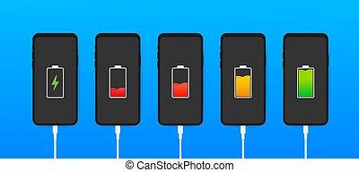 smartphone., 充満, 表示器, レベル, 電池, 解放された, セット, connection., 十分に, illustration., usb, smartphones, ベクトル, 満たされる
